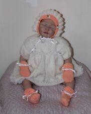 Baby girl outfit chapeau/bonnet moufles chaussons 0-3 mois Blanc/Pêche reborn poupée