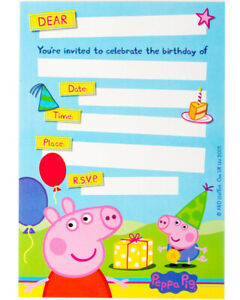 Peppa Pig Party Invitation Cards+Envelopes 8pk - Peppa Pig Party Supplies