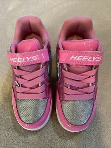 New Heelys youth girls size 2 skate shoes white pink silver minor roller skater