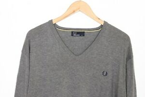 FRED PERRY V Neck Grey Cotton Jumper Sweater Men Size XXL