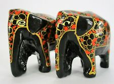 Lot of 2 Paper Mache Ornaments Elephants Handmade Black Xmas Holiday Papier