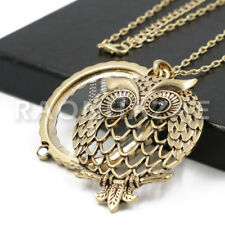 Owl with Back Onyx 5X Magnifying Glass Pendant Necklace Long Chain G