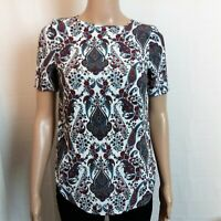 H&M Blouse Womens Size 0 Red Blue Paisley Floral Hi-Lo Short Sleeve Pullover