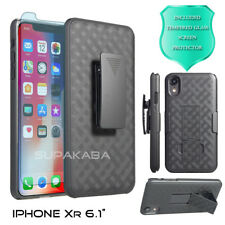 For Apple iPhone XR Holster Case Belt Clip Stand Slim + Glass Screen Protector