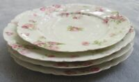 FOUR Haviland Limoges Schleiger 39F Pink Drop Roses Plates Lunch and Salad