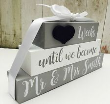 Personalised Wedding Countdown chalkboard sign plaque Blocks engagement gift