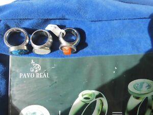 3 X ORIGINAL Pavo Real Ringe mit 3 Diams-Gr-54-NEU!