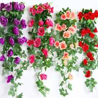 2.2M Artificial Fake Silk Rose Flower Ivy Vine Garland Wedding Party Home Decor