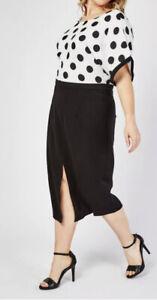 BBAND NEW SIMPLY BE LOVEDROBE SIZE 24 BLACK WHITE POLKA DOT SHIFT DRESS BNWT