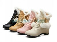 Womens Round Toe Fur Trim Hidden Wedge Heels Ankle Boots Winter Warm Snow Shoes