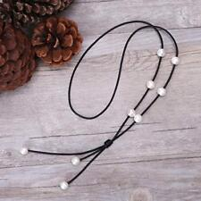 Cultured Freshwater Pearl on Genuine Black Leather Cord Lariat Necklace