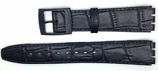 New Condor 16mm(19mm) Leather Strap Compatible for Swatch® Skin Watch Black SC16