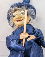 "21"" Halloween Grining Wicked  Witch Doll Blue Attire Standing/Hung Big Broom"