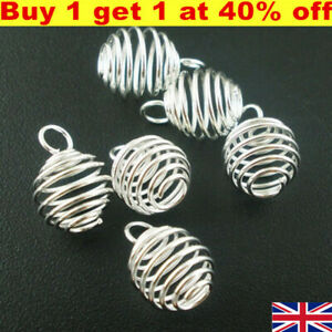 100 Silver Plated Spiral Bead Cages Pendants 8x9mm UK