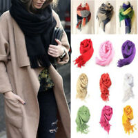 Women Long Cashmere Scarf Warm Solid Winter Pashmina Shawl Wrap Scarves Tassel