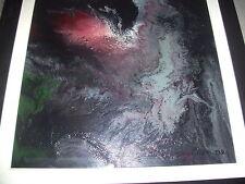 RARE PEINTURE / BOIS MODERNE de D.BEUCHER 1992. ART ABSTRAIT NOIR. OIL PAINTING