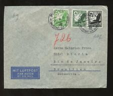 GERMANY 1938 JUNE EAGLE AIRMAIL FRANKING MUNICH to BRAZIL +HINDENBURG 40pf BLOCK