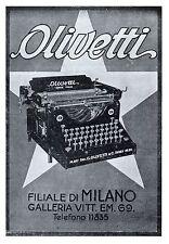 PUBBLICITA' 1922 OLIVETTI MACCHINA DA SCRIVERE M20 IVREA  UFFICIO FILIALE MILANO