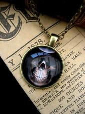 Skull  Necklace Pendant  Bronze Goth Kitsch Glass Dome Death Skeleton Head