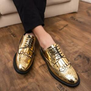 Mens Pointy Toe Lace Up Formal Dress Oxfords Patent Leather Business Shoes New
