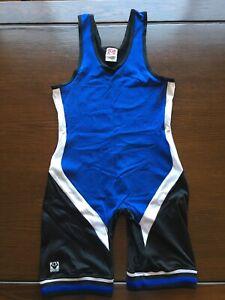 Vintage Wrestling Singlet Brute Medium Blue Mens Match Worn Team Gear USA Made