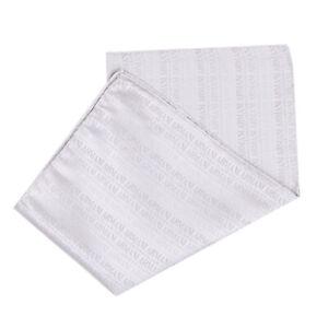 ARMANI COLLEZIONI Silk Pocket Square Handkerchief Logo Pattern Made in Italy