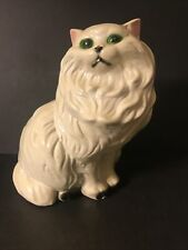 """Vintage Large 14"""" White Ceramic Persian Cat Statue Figurine with Green Eyes"""