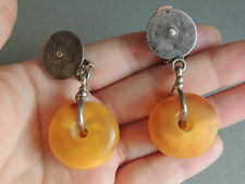 Vintage Mauritanian Large Amber Bead Earrings