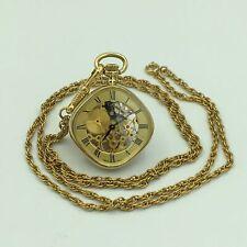 Catorex Swiss 10K Gold Plate Skeleton Ladies Pendant Pocket Watch 14 Inch Chain