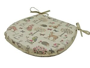 Woodland D-Shaped Garden/Patio/Kitchen/Dining Tie-On seat pads *3 Sizes*