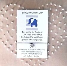 Wish String Charm Bracelet 'Elephant of Joy' Friendship Star Gift Card  #8A