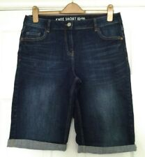 size 14 shorts Next denim jean knee length 'knee short' mid dark blue