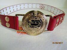 NEW ECKO UNLIMITED UNLTD Red Rhino Ladies Red Leather Belt w/ Gold Buckle M