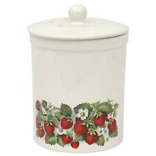 3L Ashmore Strawberry Ceramic Compost Caddy/Food Waste Bin - White (3 Litre)