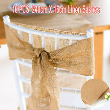 10x Burlap Chair Sash Sashes Ribbon Jute Linen Table Runner Wedding Event Party
