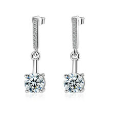 Fashion Solid 925 Sterling Silver CZ Cubic Zirconia Ear Stud Dangle Earrings