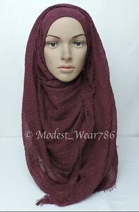 Premium Cotton Viscose Maxi Crinkle Hijab Scarf Shawl Islam Muslim 180x100cm