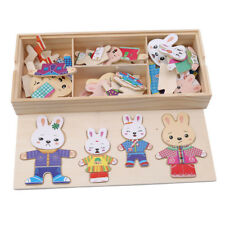 Montessori Educational Kids Wooden Rabbit Puzzles Costume Changing Toys LH