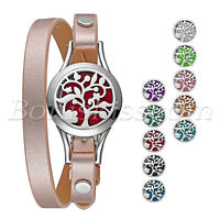 Stainless Aromatherapy Essential Oil Diffuser Women's Leatner Locket Bracelet
