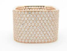 Rose Gold Sterling Silver Diamond Set White Sapphire Pave Square Eternity Ring