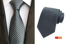 Tie Silver and Black Grid Patterned Handmade 8cm 100% Silk Wedding Necktie