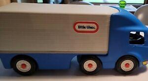 "Vintage Little Tikes Blue Semi Tractor Trailer 23"" Ride on Truck"