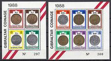Gibraltar Block 13 und 14 postfrisch, Neue Münzen von 1988