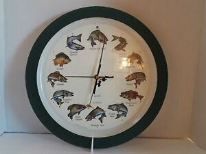 Game Fish Chiming Wall Clock Splashing Fish Sound Sports Fish Decor