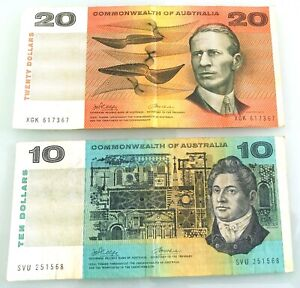 COMMONWEALTH AUST $10 & $20 PHILLIPS / WHEELER NOTES