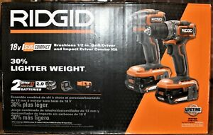 Ridgid R9780 18V Brushless Sub-Compact Combo Kit w/ 2.0-Ah Batteries & Charger