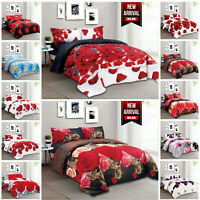 Duvet Cover Bedding Set with Fitted Sheet & Pillowcases Single Double King Size