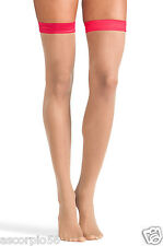 Wolford Eyla Thigh Highs Stay-ups Color Sahara/Rose Red Extra-Small  28068 -11