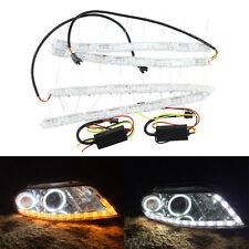 Switchback White Led DRL Strip Light W/ Amber Turn Signal For Headlight Retrofit