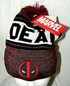 Marvel Comics Deadpool Red Heather Winter Knit Cap Hat New OSFM Pom-Pom